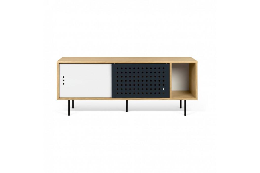 TV komoda v dekore dubového dreva s čierno-bielymi detailmi TemaHome Dann Dots, dĺžka 165cm