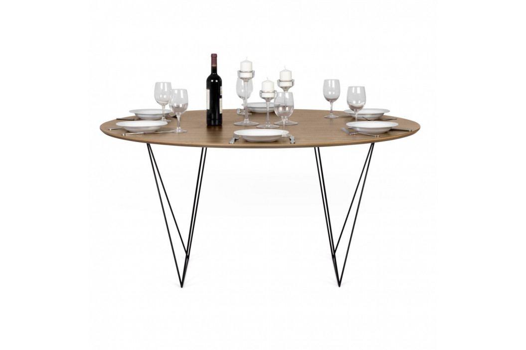 Jedálenský stôl v dekore orechového dreva s čiernou podnožou TemaHome Row, Ø150cm