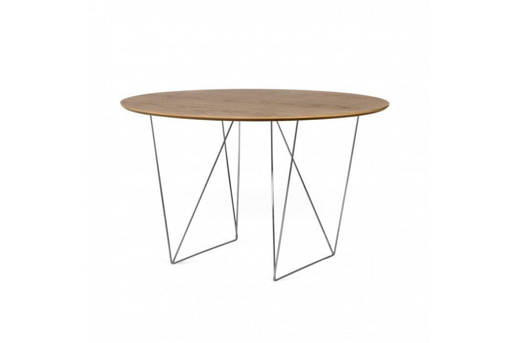 Jedálenský stôl v dekore orechového dreva s pochrómovaným podnožím TemaHome Row,Ø120cm