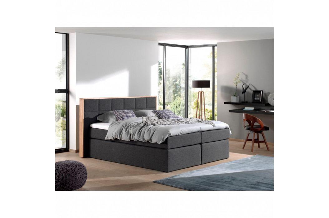 Sivá dvojlôžková bo×spring posteľ Sinkro Bertha, 180 × 200 cm