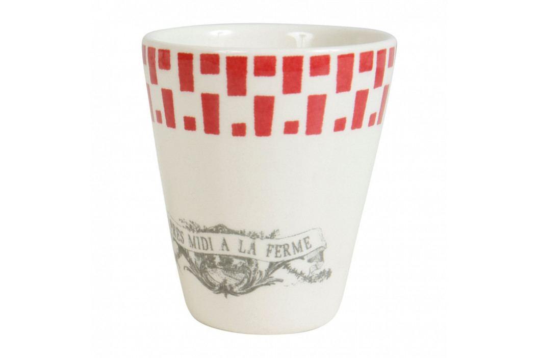 Sada 4 červeno-biely hrnčekov na espresso Comptoir deFamille Galline, 100ml