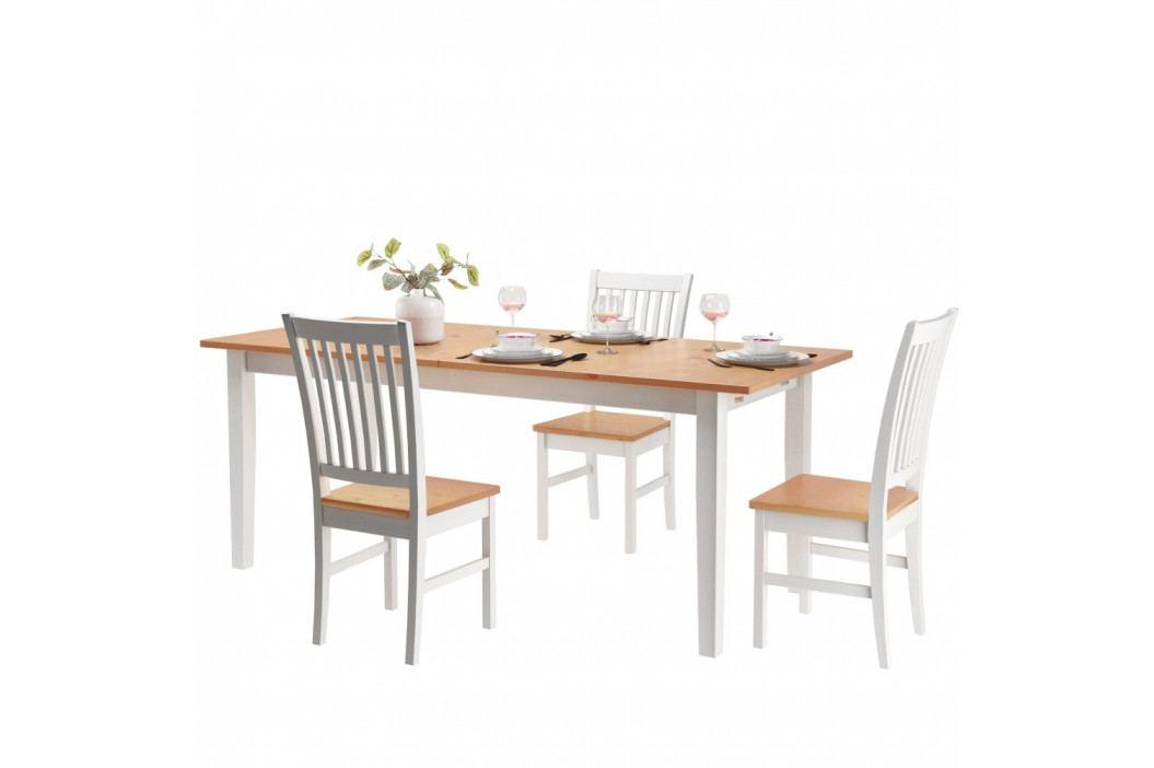 Jedálenský stôl z borovicového masívu s bielymi nohami Støraa Daisy, 75×160cm