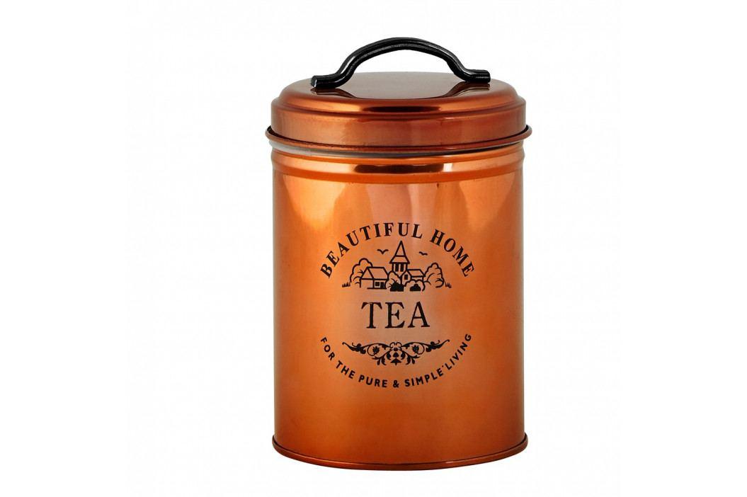 Dóza na čaj v medenej farbe