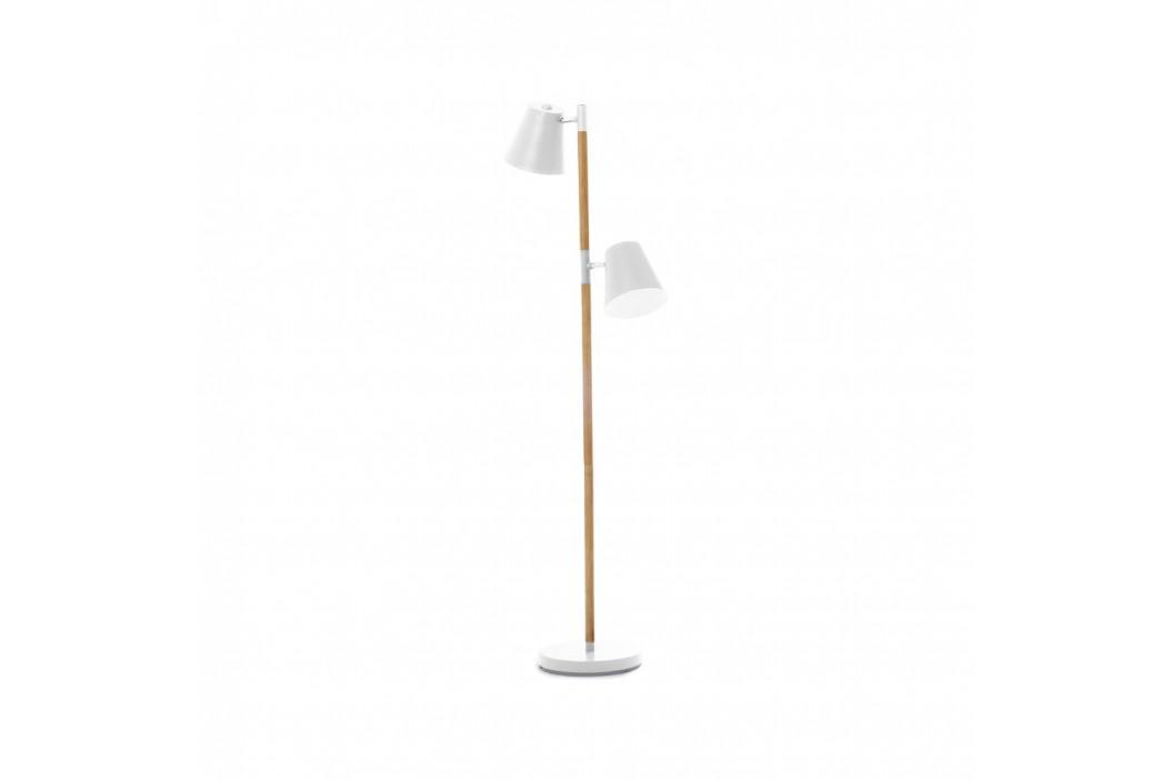 Biela voľne stojacia lampa s drevenými detailmi Leitmotiv Rubi