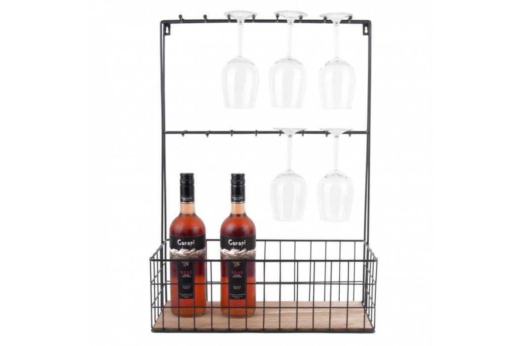 Čierny nástenný držiak na víno a vinné poháre PT LIVING