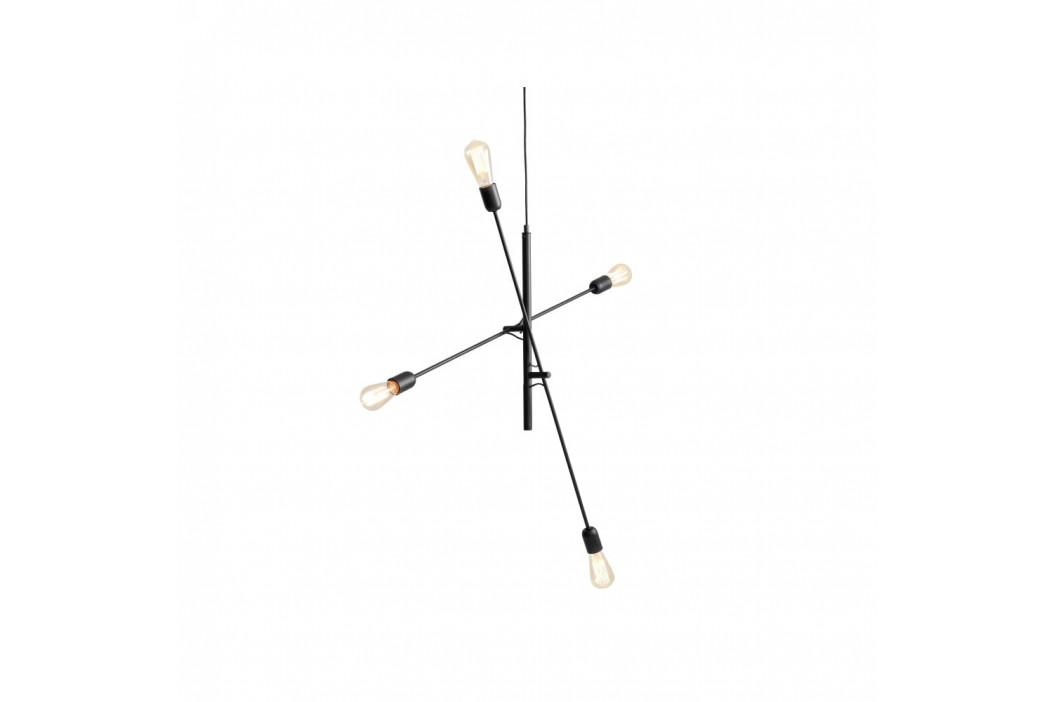 Čierne závesné svietidlo na 4 žiarovky Custom Form Twigo
