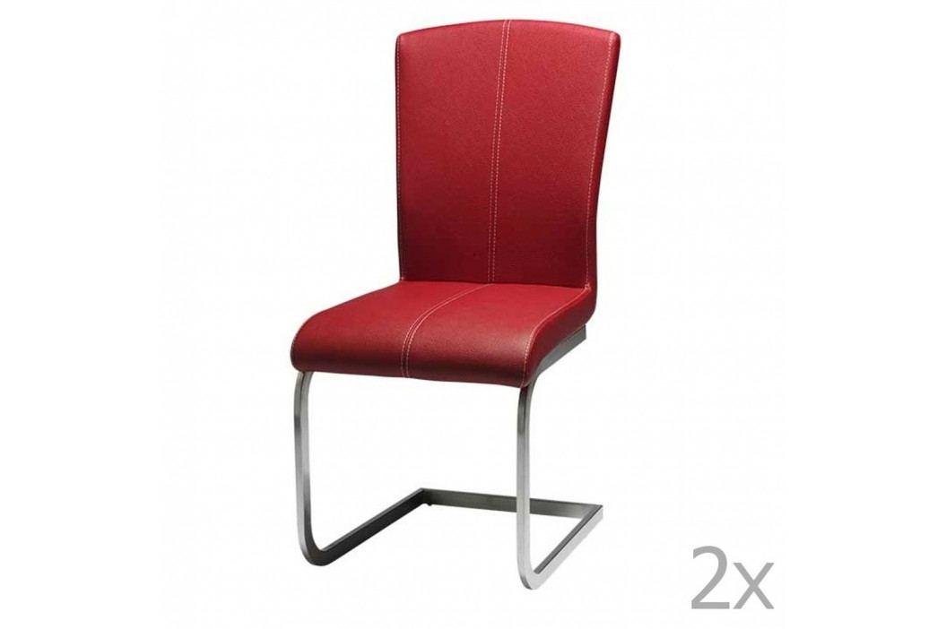Sada 2 červených jedálnych stoličiek Furnhouse Tolouse