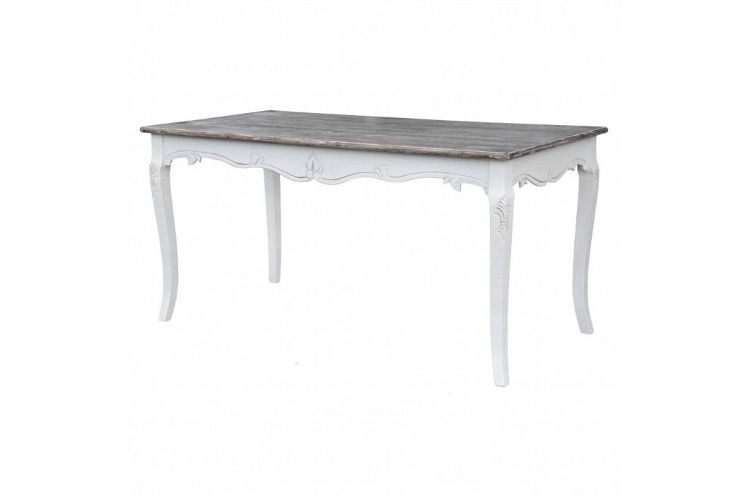 Biely jedálenský stôl z topoľového dreva s prírodnými detailmi Livin Hill Rimini, 160×80 cm