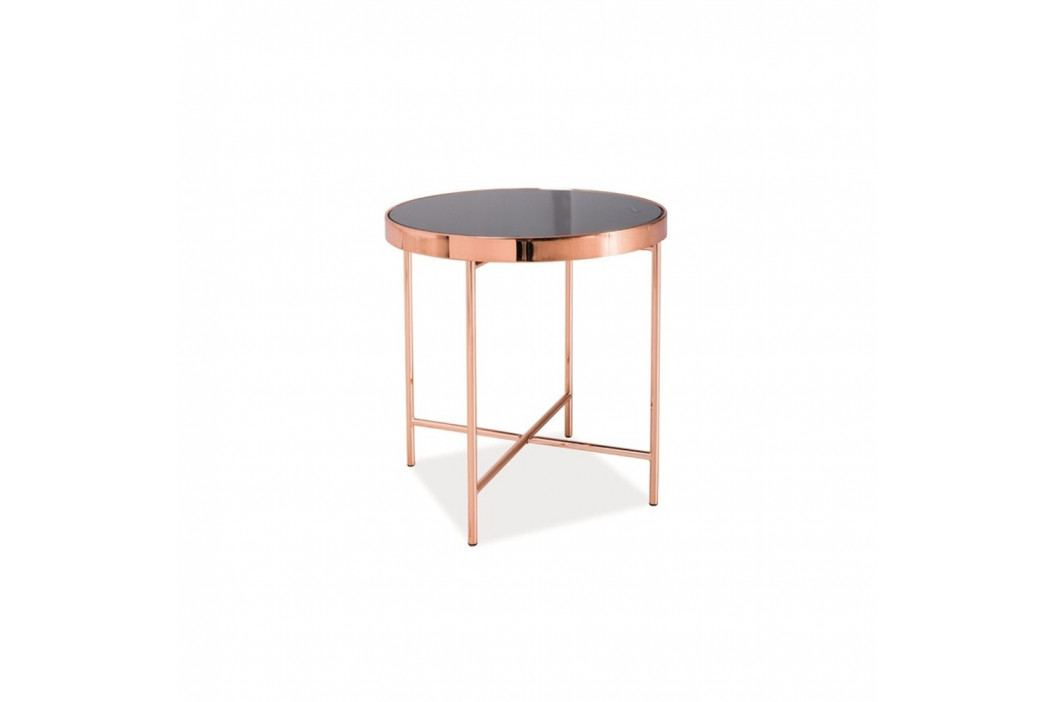 Odkladací stolík so sklenenou doskou a kovovou konštrukciou vo farbe medi Signal Gina, ⌀43cm