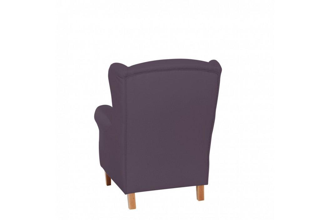 Fialové kreslo ušiak Max Winzer Lorris Leather Violet