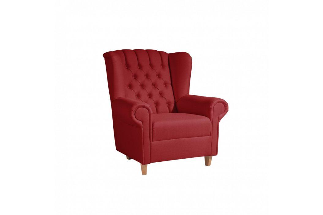 Červené kreslo ušiak Max Winzer Vary Leather Chili