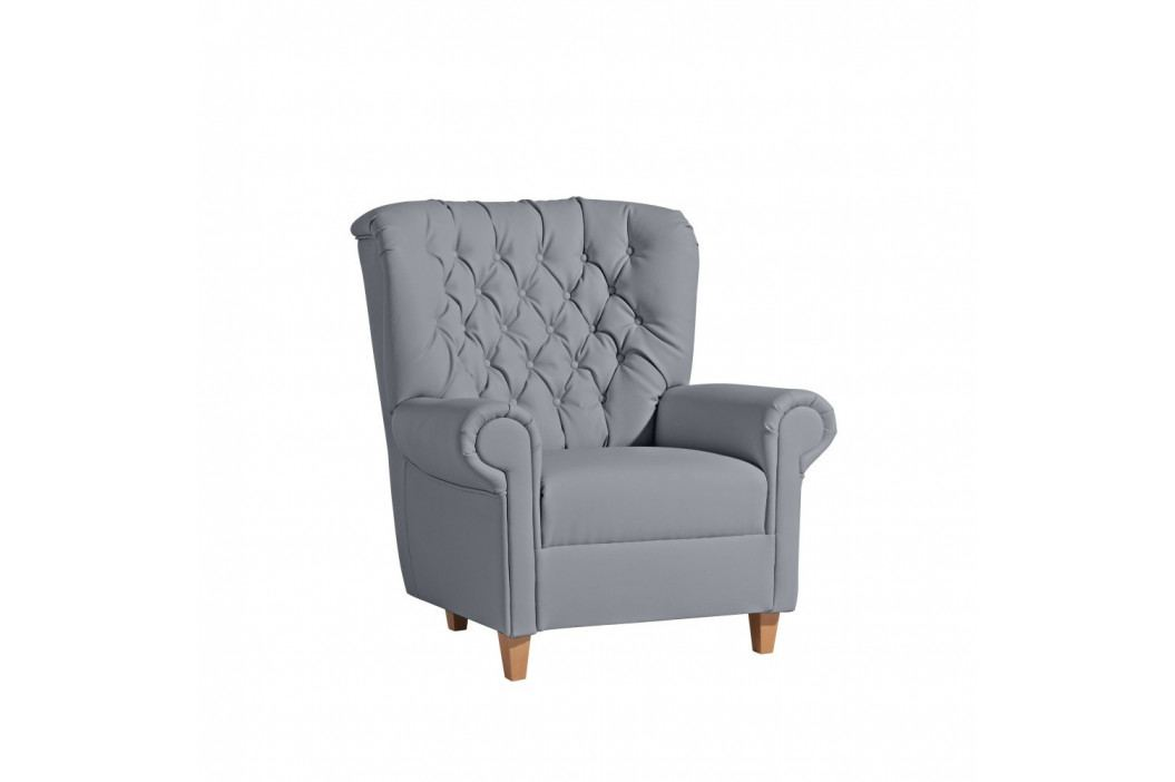 Sivé kreslo Max Winzer Recliner Vicky Leather Gray