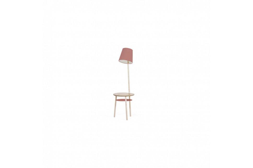 Tmavoružová stolová lampa z jaseňového dreva HARTÔ Josette