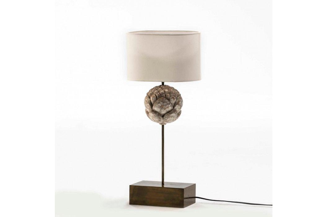 Kovová stolová lampa s bielym tienidlom Thai Natura, výška 56 cm