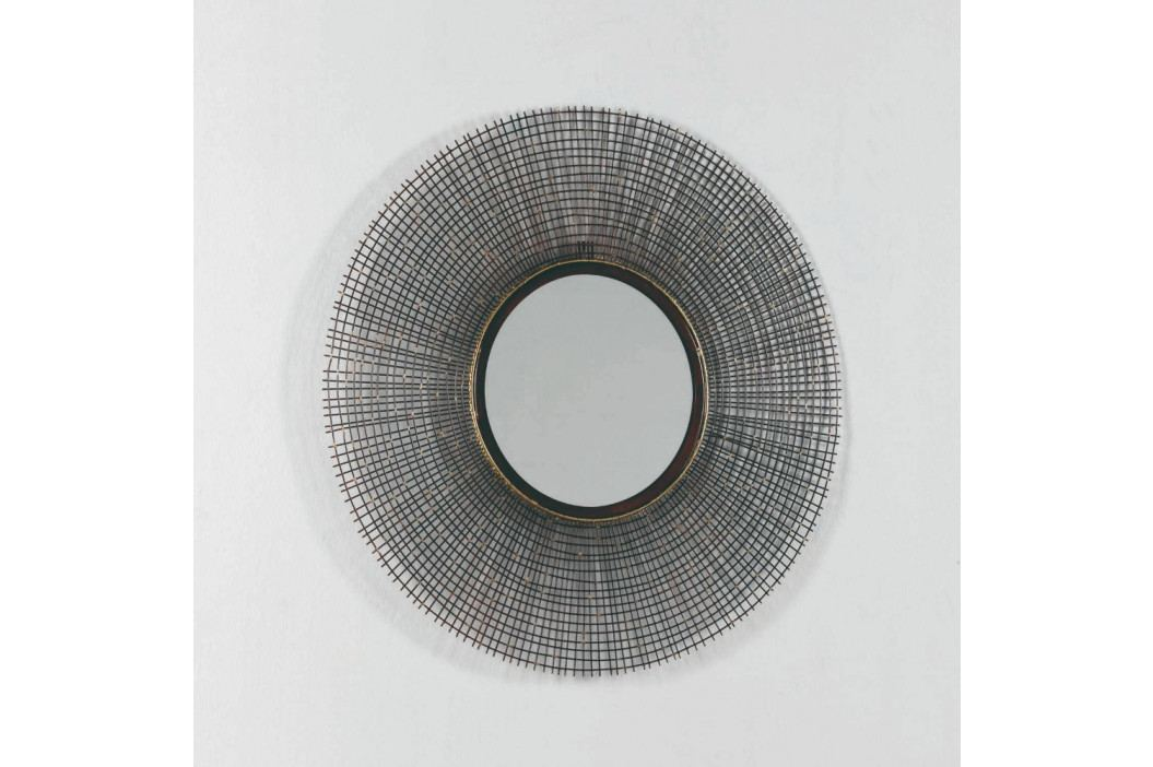 Nástenné zrkadlo s rámom v sivej farbe, ∅ 67 cm