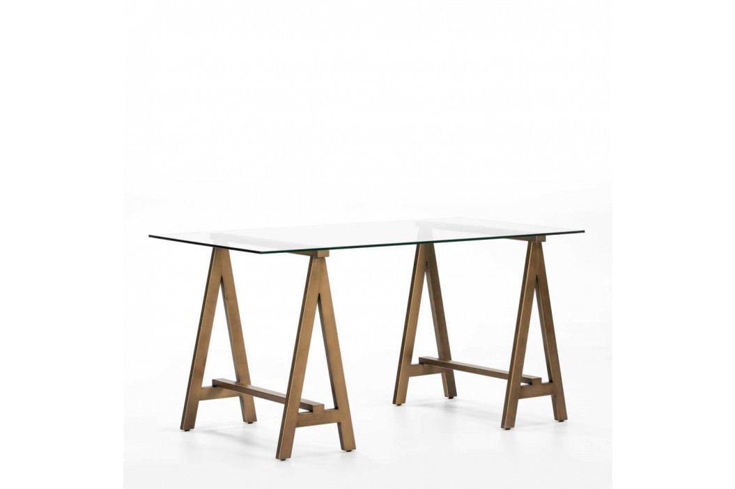 Pracovný stôl zo skla a kovu Thai Natura Transparent, 150×76 cm