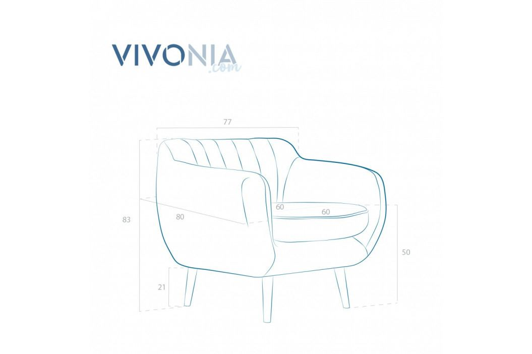 Azúrovomodré kreslo s prírodnými nohami Vivonita Kennet