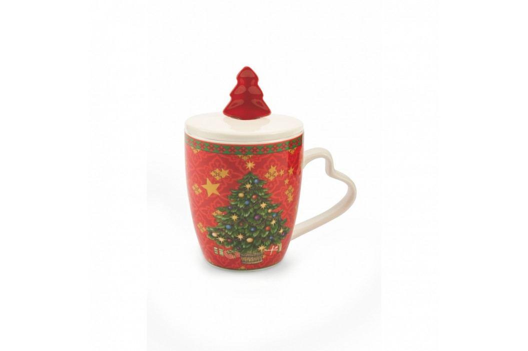 Vianočný hrnček s vekom z kostného porcelánu Villa d'Este XMAS Rosso