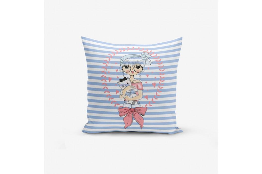 Obliečka na vankúš s prímesou bavlny Minimalist Cushion Covers Blue Striped Fashion Girl, 45×45 cm