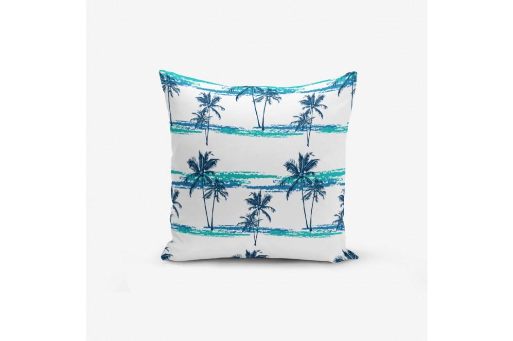 Obliečka na vankúš s prímesou bavlny Minimalist Cushion Covers Blue Green Palm, 45×45 cm