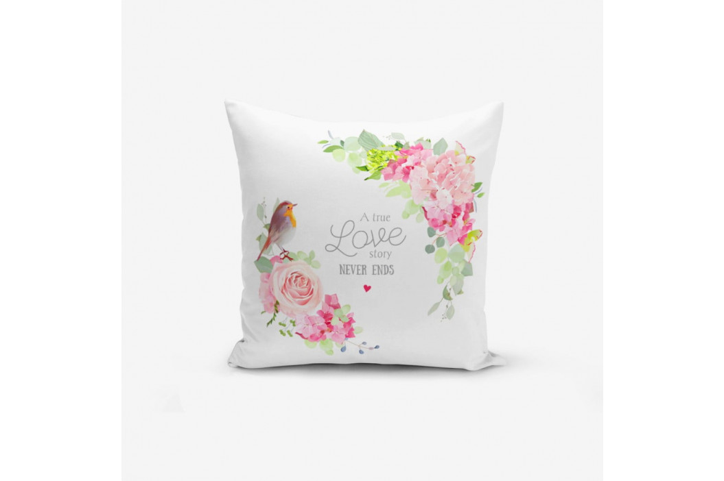 Obliečka na vankúš s prímesou bavlny Minimalist Cushion Covers Bird A True Love Story, 45 × 45 cm