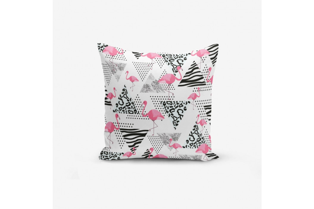 Obliečka na vankúš s prímesou bavlny Minimalist Cushion Covers With Points Flamingo, 45 × 45 cm