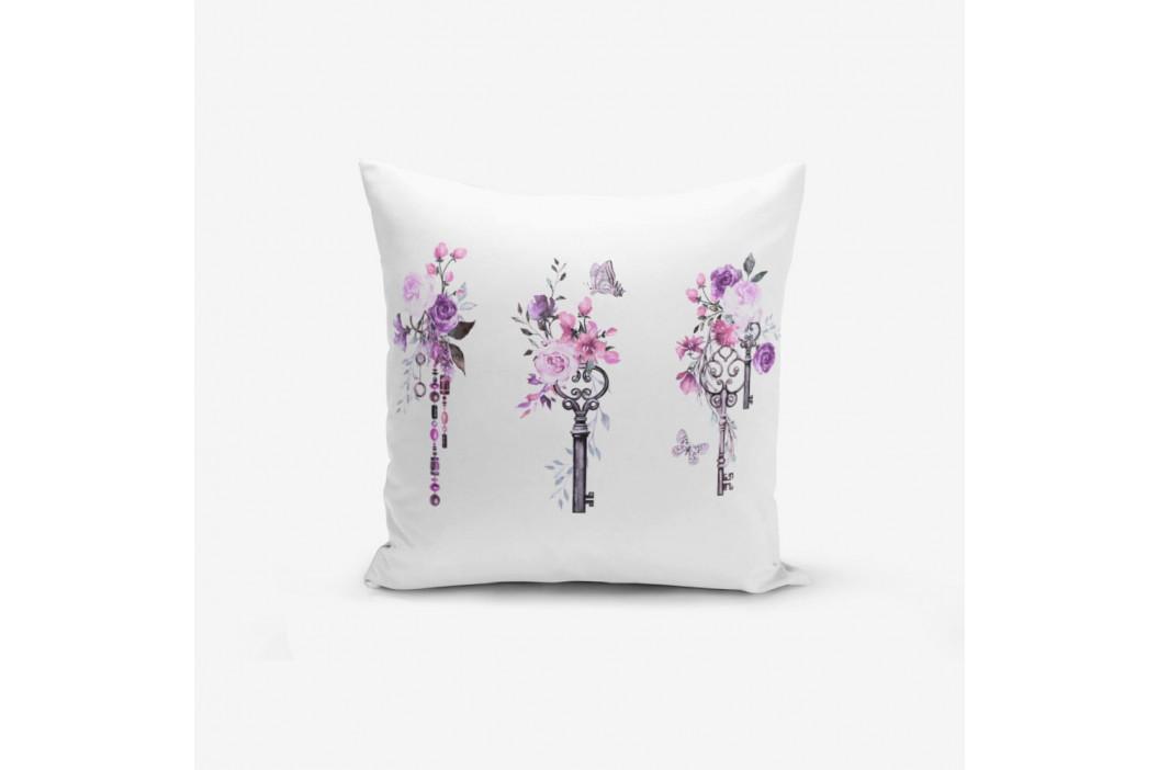 Obliečka na vankúš s prímesou bavlny Minimalist Cushion Covers Purple Key Flower Striped, 45×45 cm
