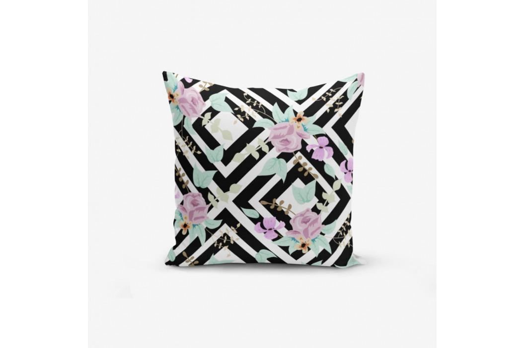 Obliečka na vankúš s prímesou bavlny Minimalist Cushion Covers Black White Labirent Soyut Flower, 45×45 cm
