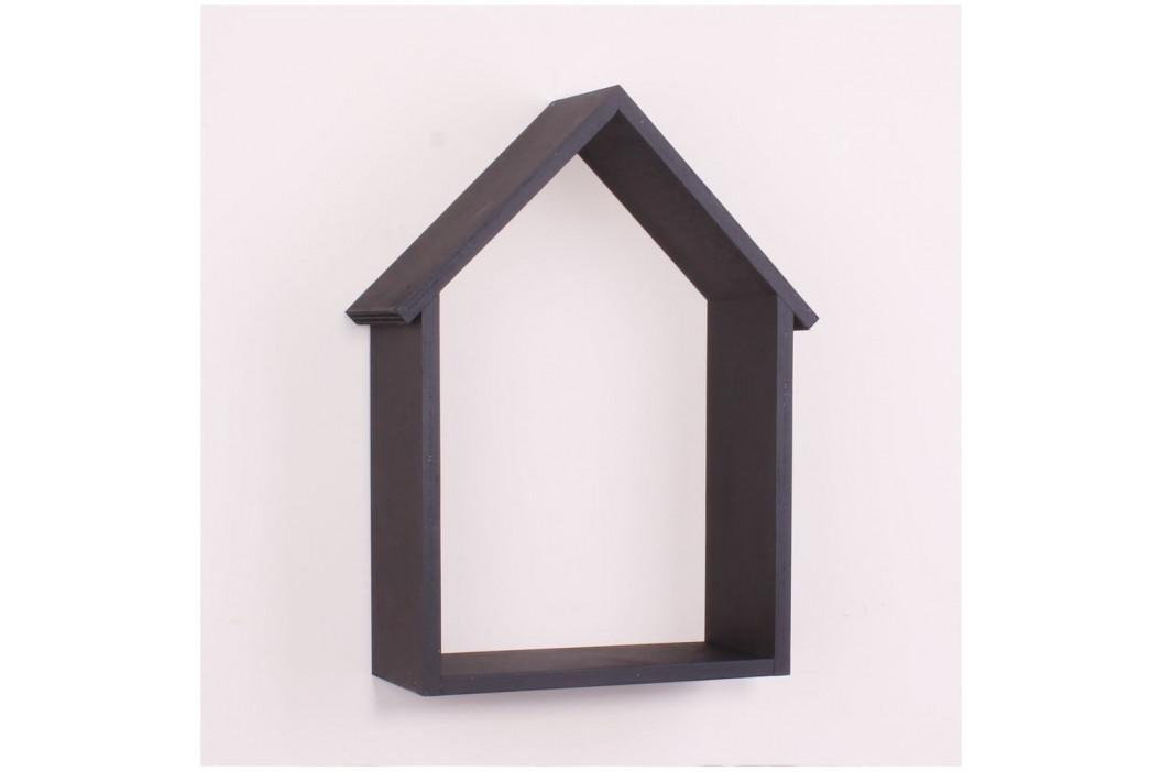 Čierna drevená nástenná polička North Carolina Scandinavian Home Decors House