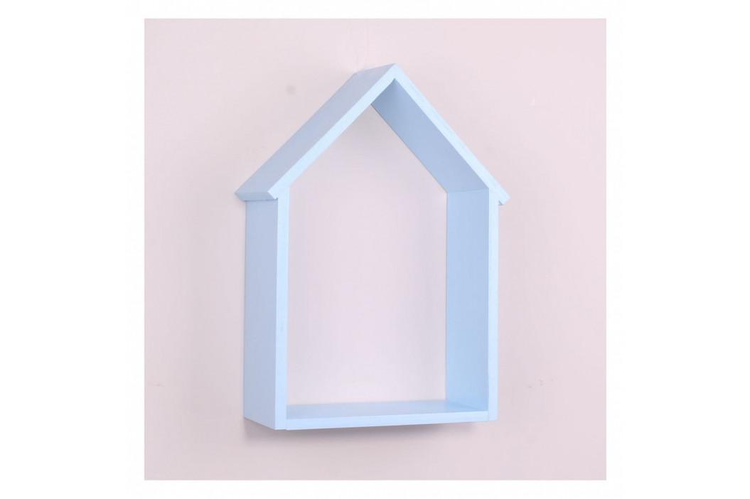 Svetlomodrá drevená nástenná polička North Carolina Scandinavian Home Decors House
