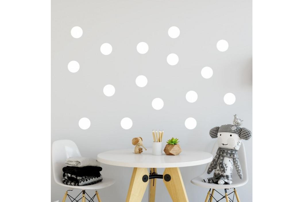 Sada bielych samolepiek na stenu North Carolina Scandinavian Home Decors Dot