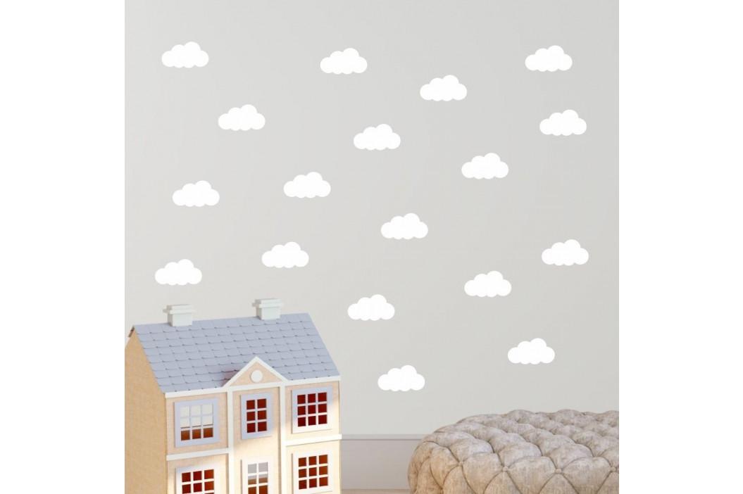 Sada bielych samolepiek na stenu North Carolina Scandinavian Home Decors Cloudy