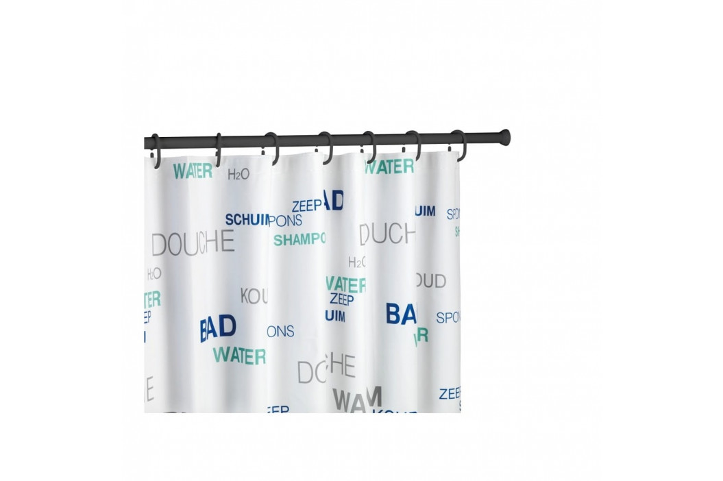 Čierna teleskopická tyč na sprchový záves Wenko Shower Curtain Rod