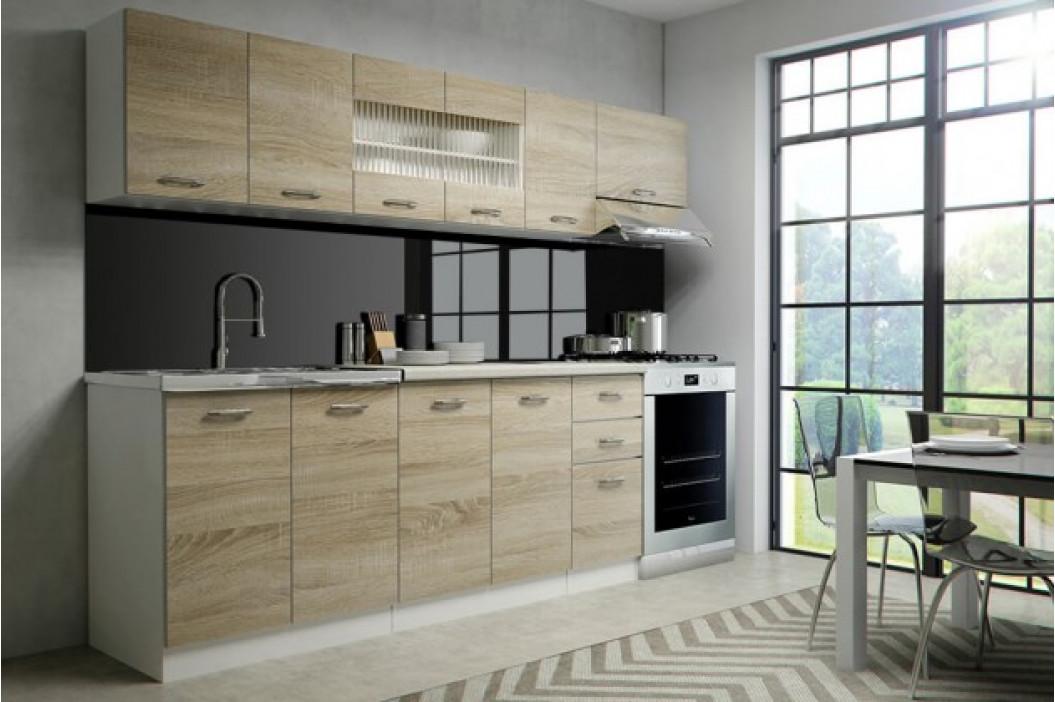 Kuchyňa Perla - 260 cm (dub sonoma/biela)
