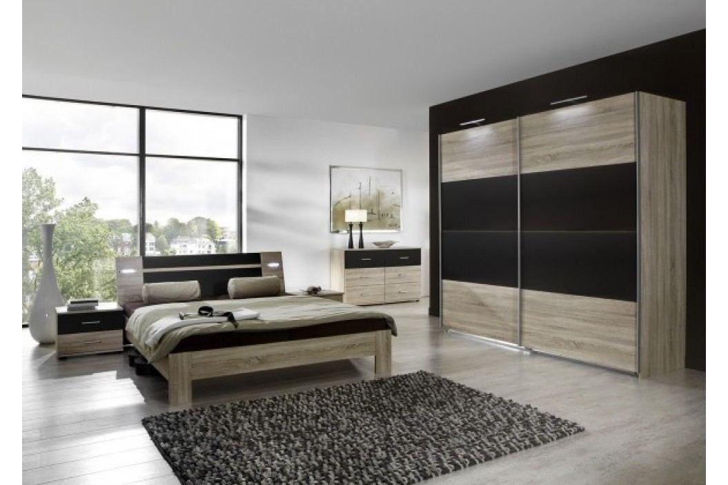 Vicenza - Komplet veľký 2, posteľ 180 cm (dub/lava čierna)