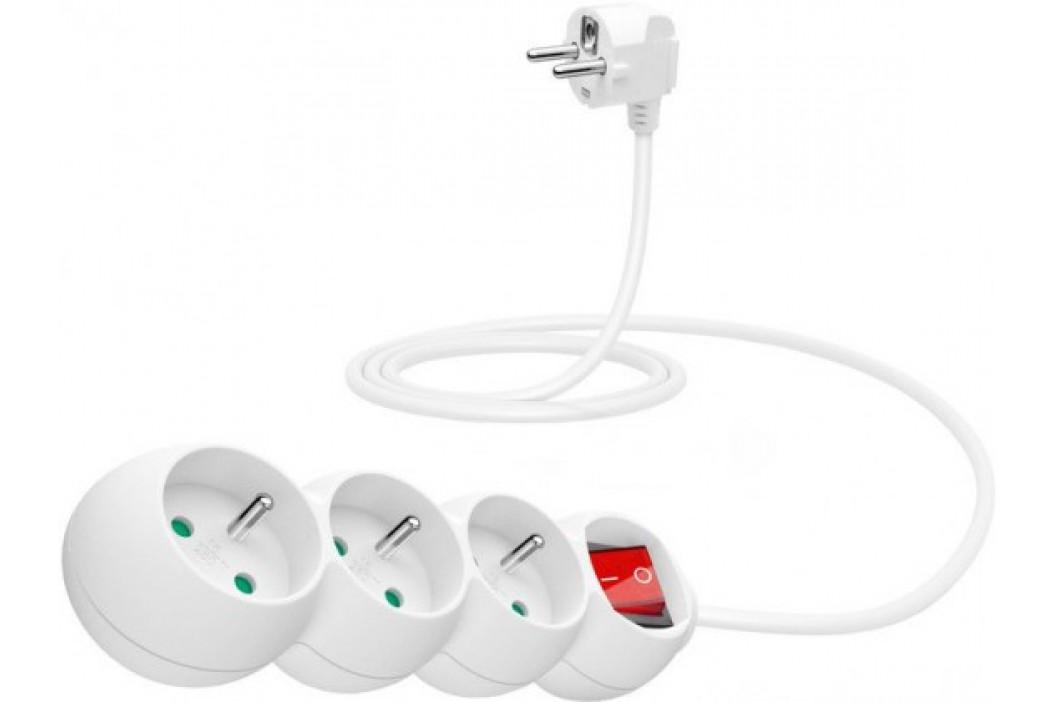 Connect IT Predlžovací kábel 230 V, 3 zásuvky, 1,5 m, s vypínačom (biely)