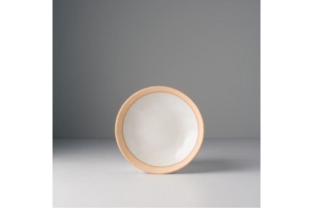 Malý tanier biely s hnedým okrajom 15x3 cm