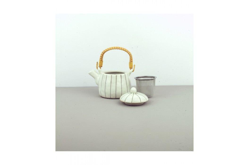 Čajová kanvica so sitkom Teacup biela so šedými prúžkami