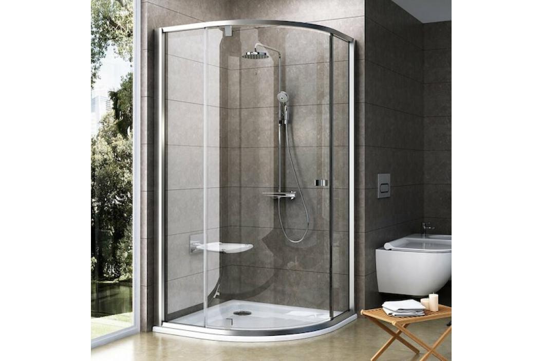 Sprchový kút Ravak Serie 300 štvrťkruh 100 cm, sklo číre, satin profil PSKK3100TS
