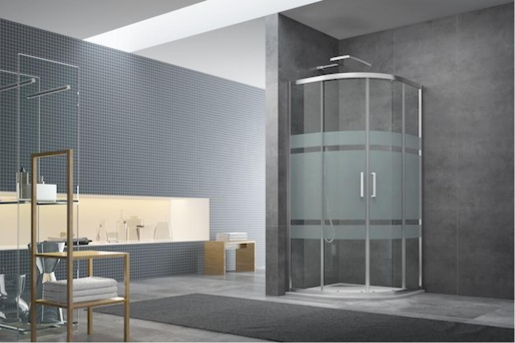 Sprchový kút Anima Tex štvrťkruh 90 cm, R 550, sklo stripe, chróm profil, univerzálny SIKOTEXS90CRS