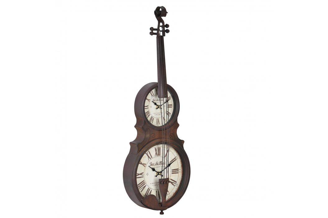 Nástenné hodiny v tvare sláčikového hudobného nástroja - analógové - 47 x 6 x 62 cm - farebné - sklo