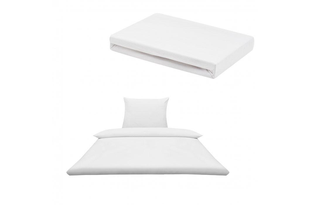 Sada posteľná bielizeň 135 x 200 cm + plachta 140-160 x 200 cm - biela