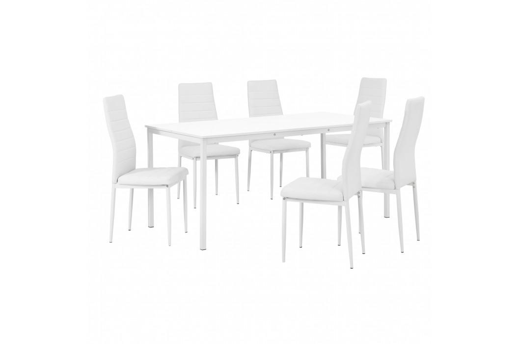 Štýlový dizajnový jedálenský stôl (160 x 80 cm) - so 6 elegantnými stoličkami (biele)