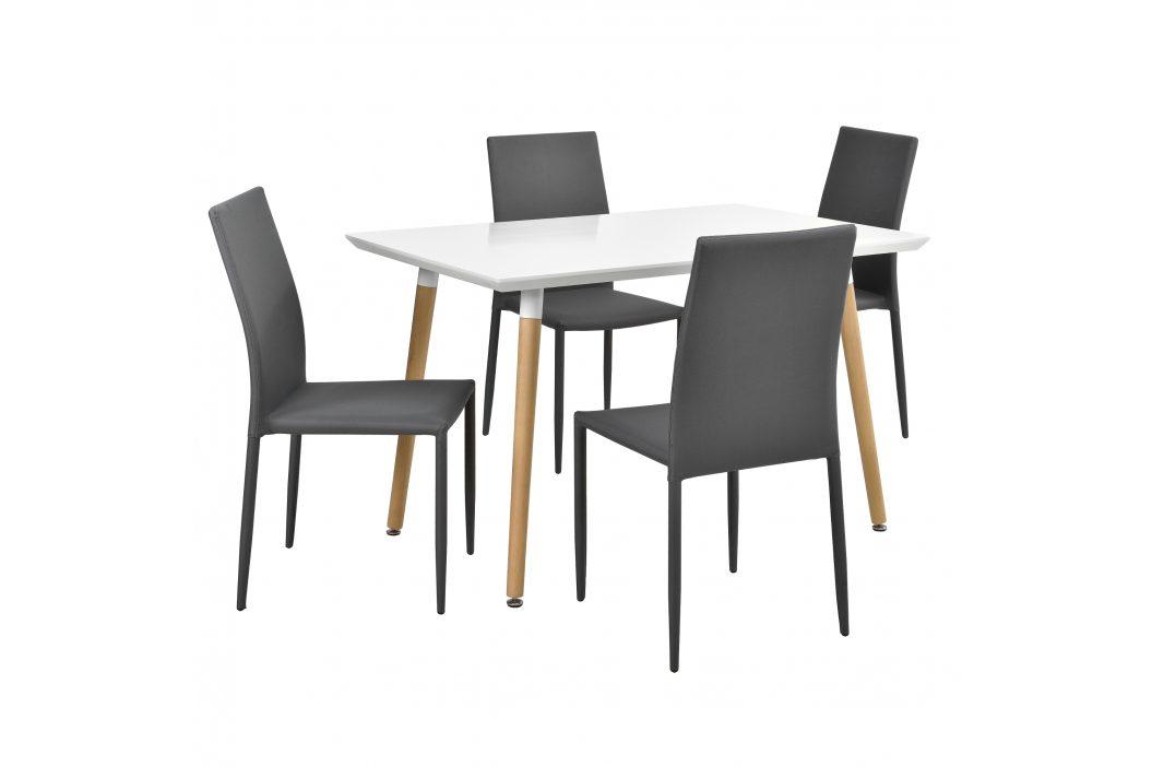 Dizajnový jedálenský stôl - 120 x 70 cm - so 4 sivými stoličkami
