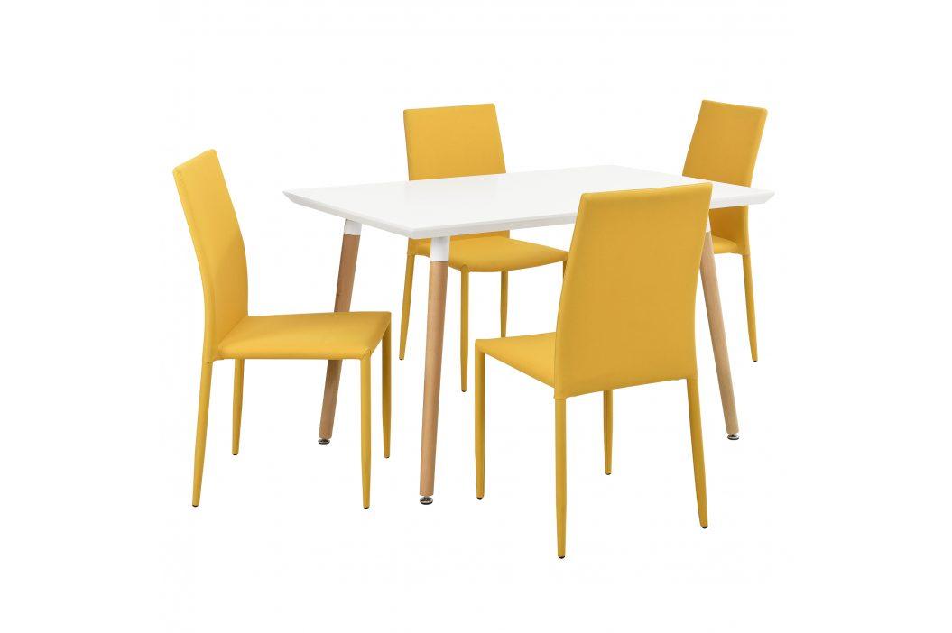 Dizajnový jedálenský stôl - 120 x 70 cm - so 4 muštárovo žltými stoličkami