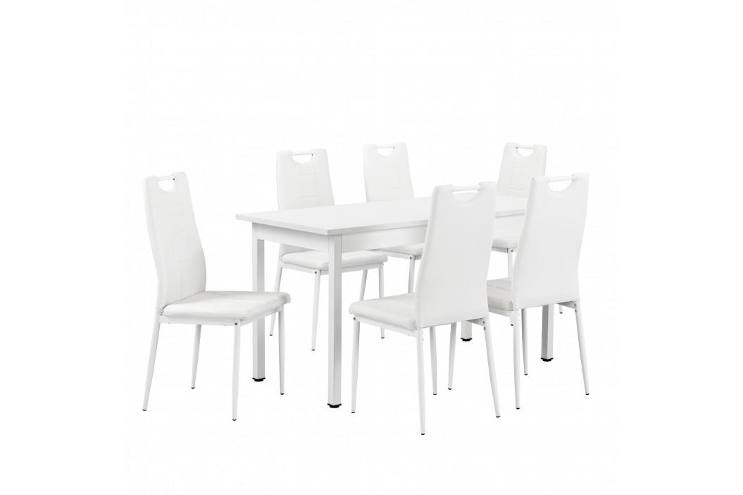 Štýlový jedálenský stôl - biely - so 6 stoličkami - bielymi