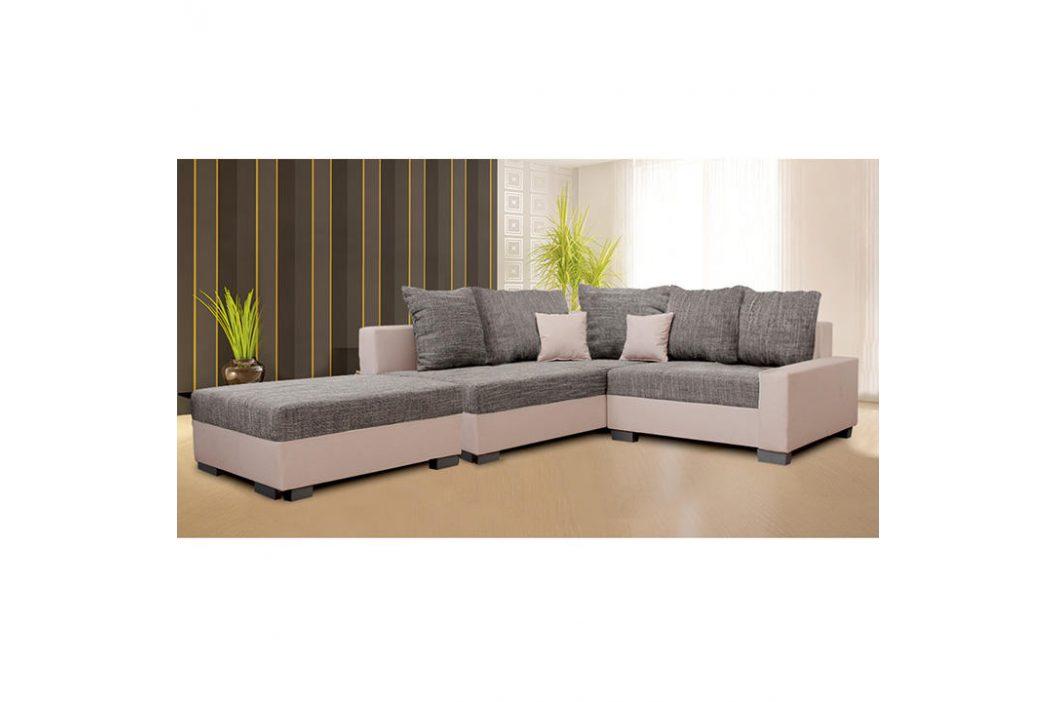 Sedací souprava s taburetem, béžová / šedý melír, levá, IDA NEW 0000149749 Tempo Kondela