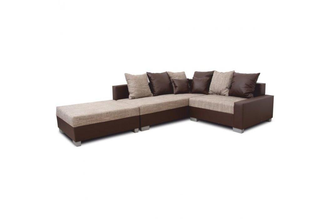 Rohová sedací souprava, ekokůže hnědá / šenil hnědý, levá, Petrana NEW 0000149741 Tempo Kondela