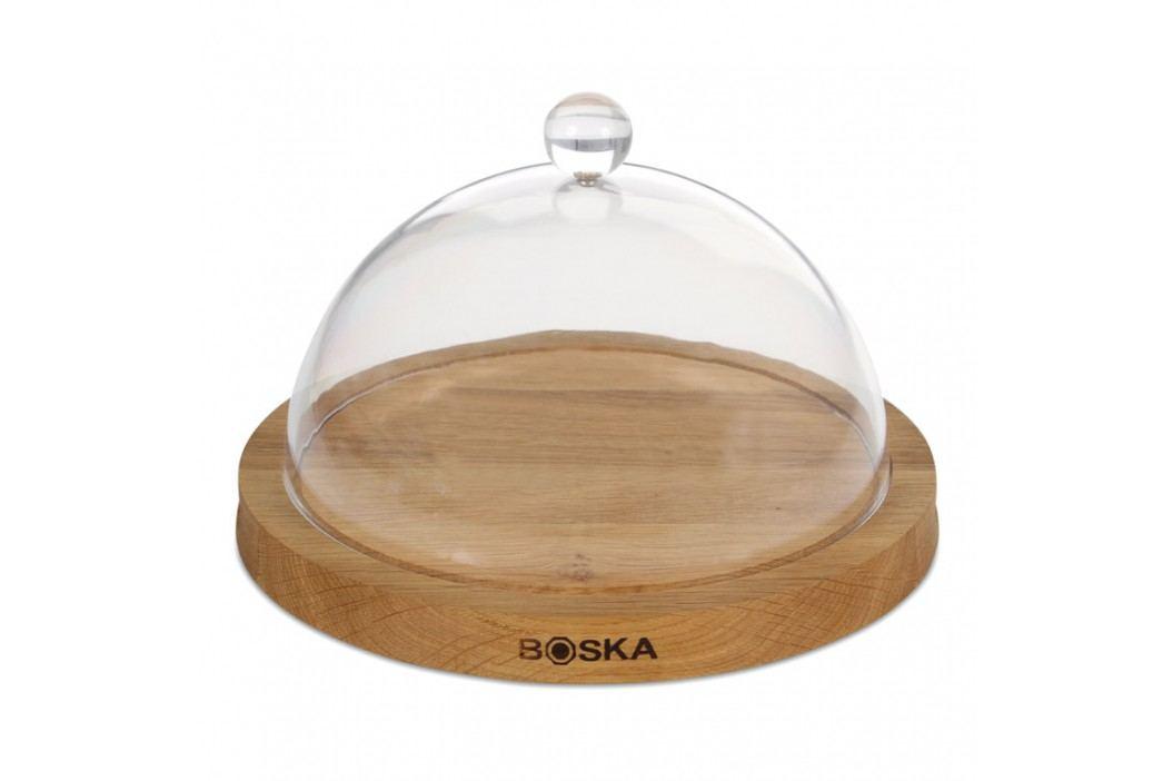 Boska Drevená okrúhla doska na syr s transparentným poklopom Oak