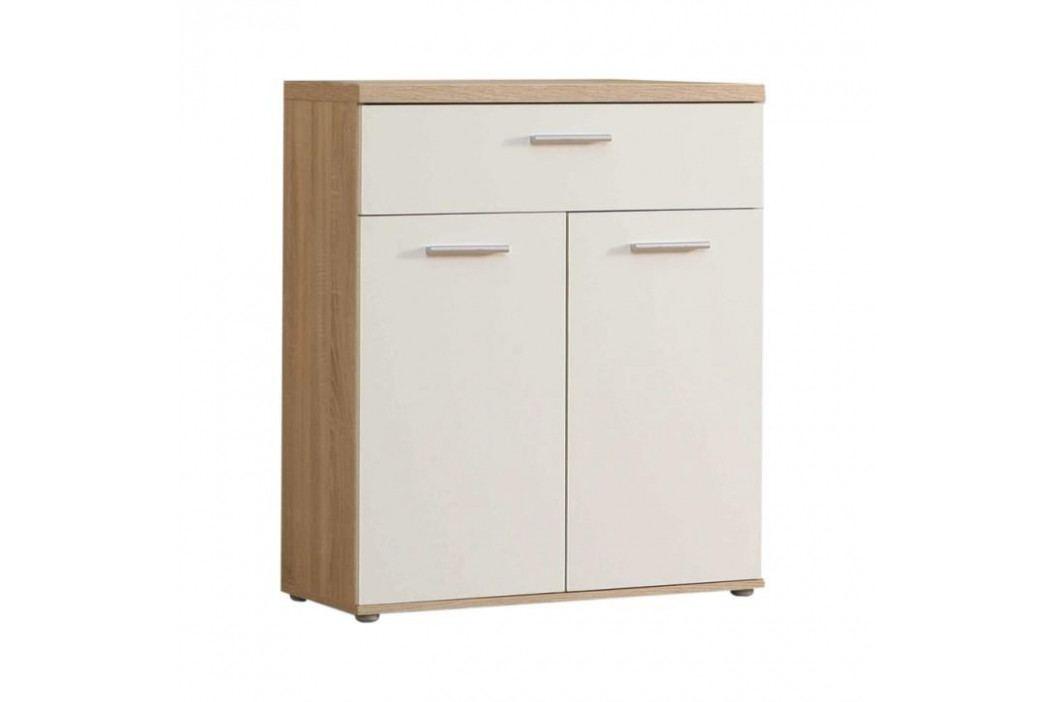 TEMPO KONDELA Komoda, 2 dverová so zásuvkou, dub/biela, WINIE WNK431
